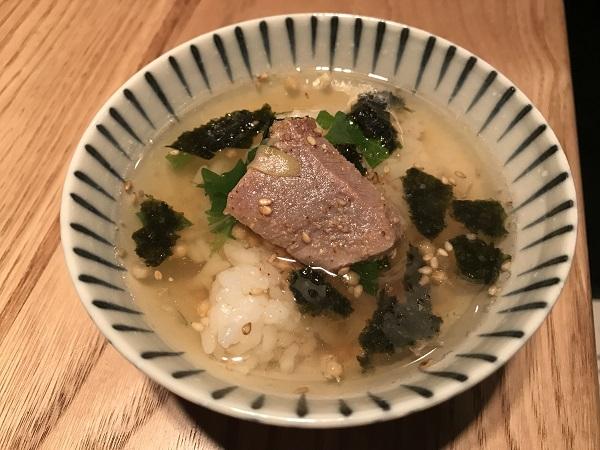 ねぎま鍋の〆お茶漬け