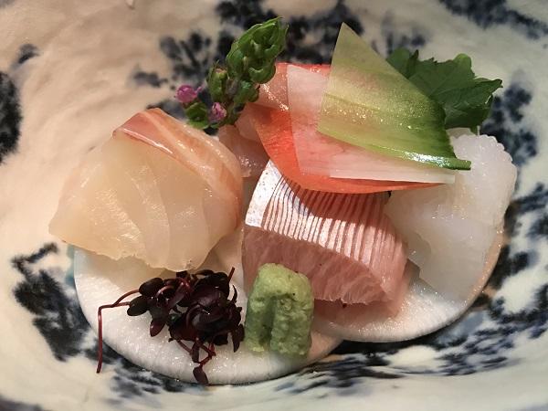 刺身4種 金目鯛、鰤、真鯛、アオリイカ