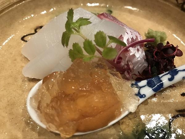 鯛とアオリイカのお造りとウニの鯛煮こごり