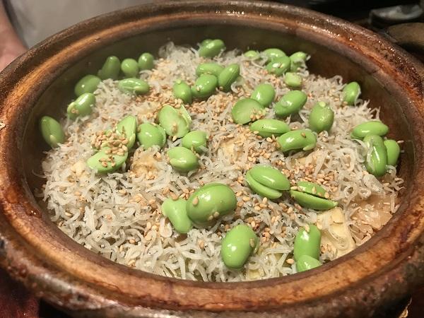 ジャコと水ナスと枝豆の炊き込みご飯