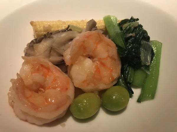 大海老と季節野菜の広東風塩炒め