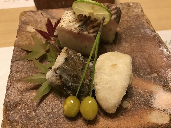 カマス寿司と海老芋とごぼう