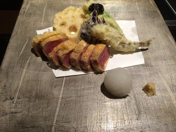 松阪牛のてんぷらと季節の野菜