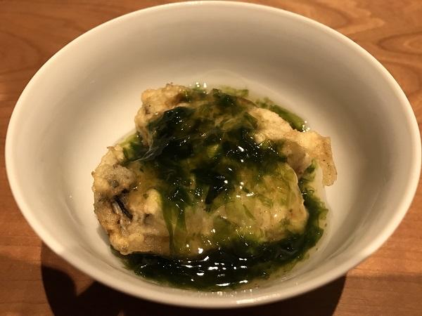 牡蠣の天ぷらの海苔あんかけ