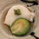 ゴマ豆腐と芽キャベツ