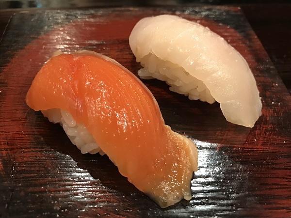 チョウザメと桜鯛のにぎり寿司