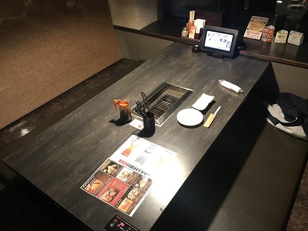 網走ビール館テーブルの様子